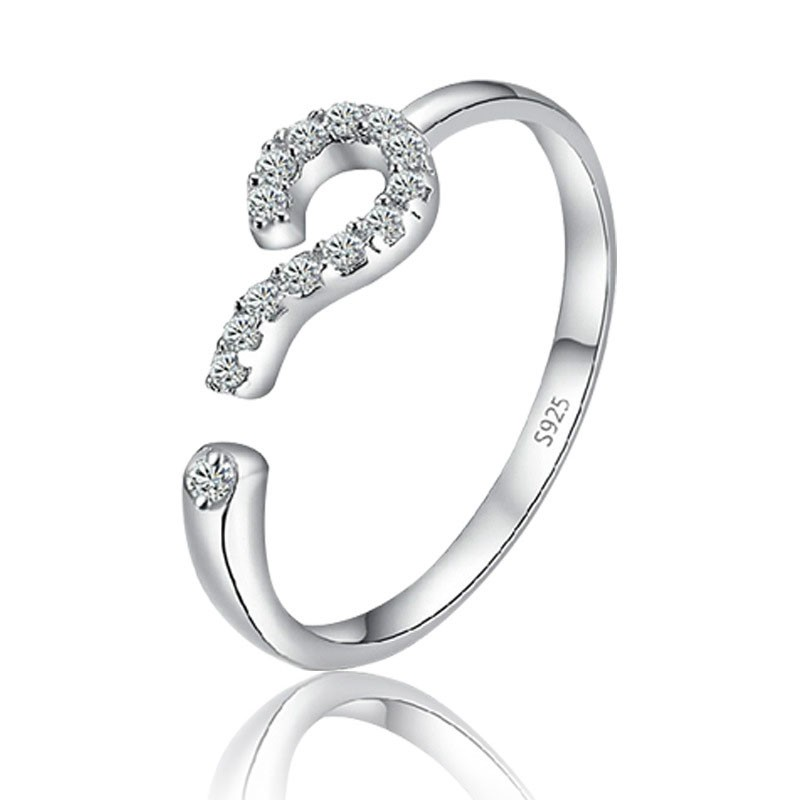 Hot Peculiar Question Mark Shape Openwork Adjustable 925 Silver Cubic Zirconia Female Ring Punk Friend Giving image