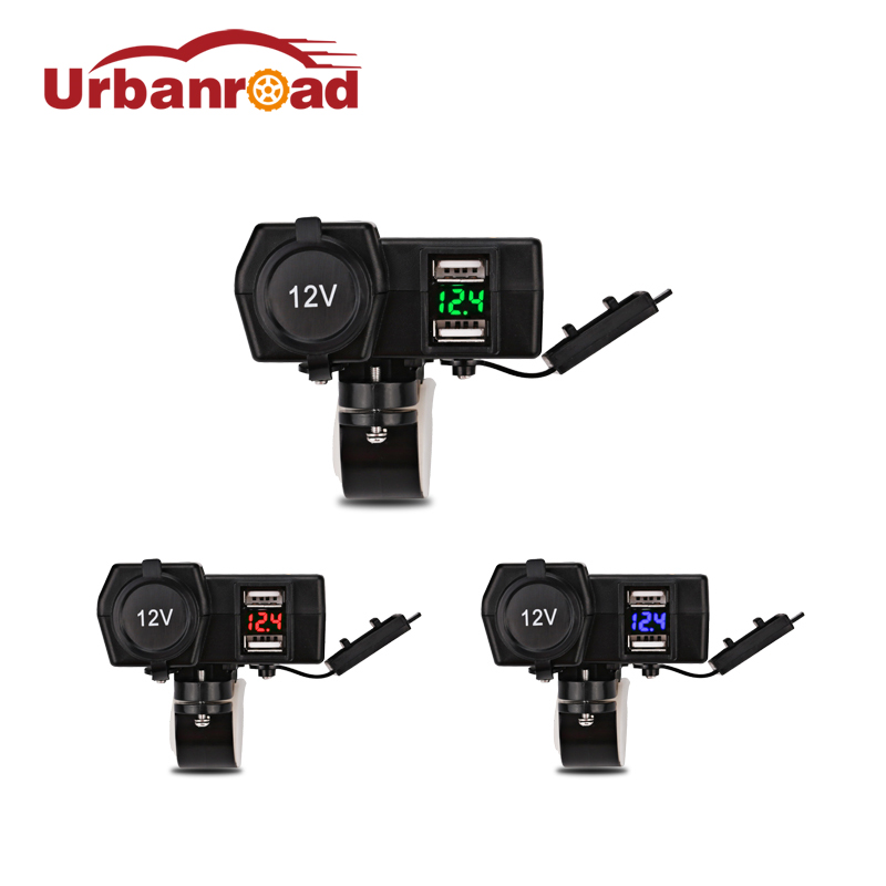 Қосарлы USB-мотоцикл зарядтаушыға су өткізбейтін мотоцикл USB-сигаретінің сөндіргіш қуат сымы мотоцикл моторы USB-зарядтаушы вольтметр 12v
