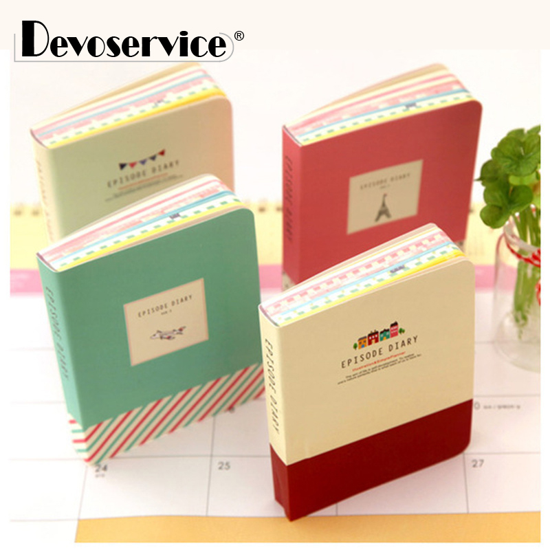 1pcs Cute Tower Pattern Hardcover Notebook Colored Pages Travelers