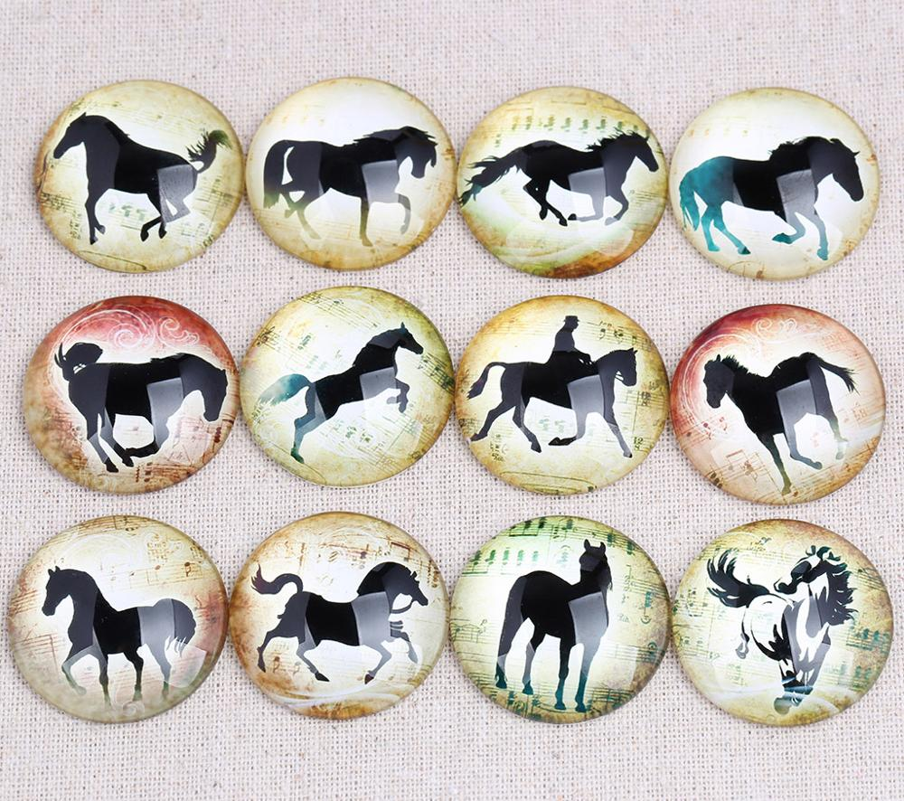 25 30 Go To Www Bing Com: Onwear Mix Horse Silouette Photo Round Glass Cabochon 20mm