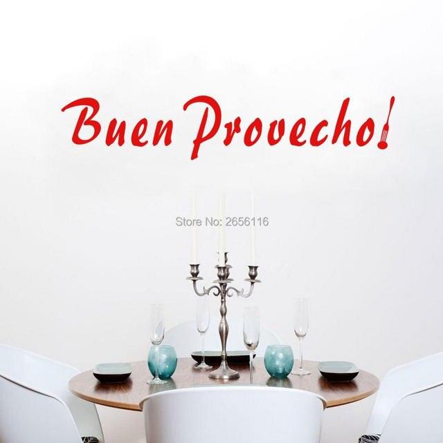 Spanyol Quotes Buen Prevecho Nafsu Makan Dapur Dekorasi Dinding Stiker Baik Ibu Hadiah Art Vinyl Surat
