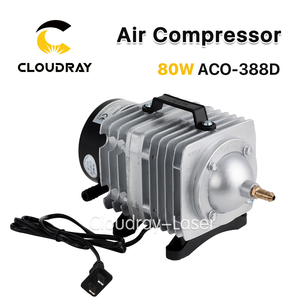 Cloudray 80W Air Compressor Electrical Magnetic Air Pump for CO2 Laser Engraving Cutting Machine ACO-388D oil free air compressor high pressure gas pump spray woodworking air compressor small pump 3 1100 100l