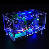 QDIY PC-D779XM אופקי MircoATX HTPC שולחן עבודה שקוף אקריליק מארז מחשב קירור מים למחשב