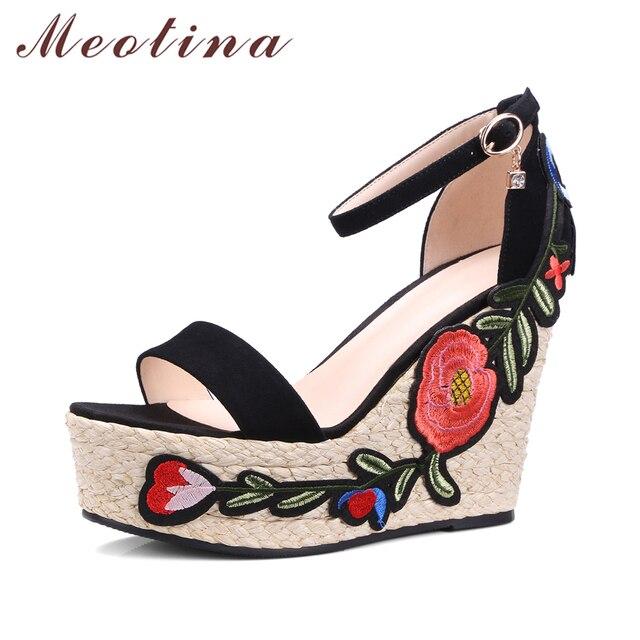 Meotina Shoes Women Sandals Suede Genuine Leather Platform Sandals Embroider Platform Wedges Flower Ankle Strap High Heels Green