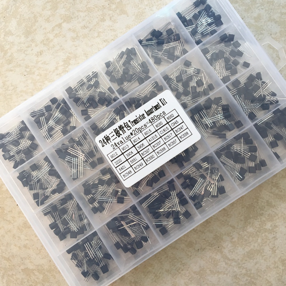 Assorted-Kit BC337 BC547 2N2222 5401 C945 3904 TO-92 5551 1015 3906 24values Each