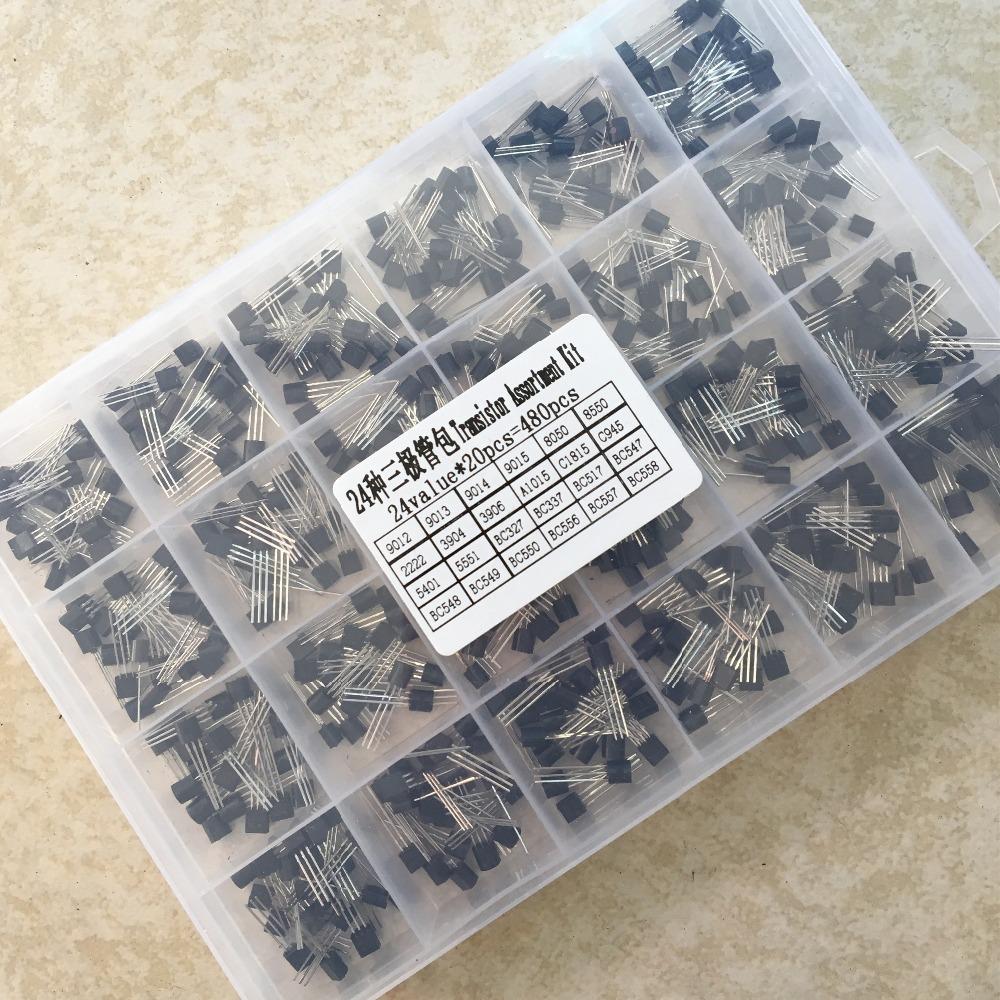 24Values TO-92 Transistor Assortment Assorted Kit Each BC327 BC337 BC517 BC547 BC548 BC549 2N2222 3906 3904 5401 5551 C945 1015