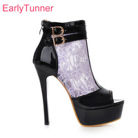 Brand New Summer Sexy Women Platform Glossy Sandals Black White Purple Super High Heel Lady Mesh Shoes EHS51 Plus Big Size 10 43