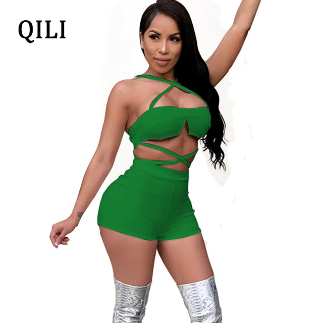40144a87be7 QILI Night Club Sexy Rompers Jumpsuit Women Sleeveless Cross Lace Up Two  Piece Set Rompers 2018 Summer Women Club Clothing