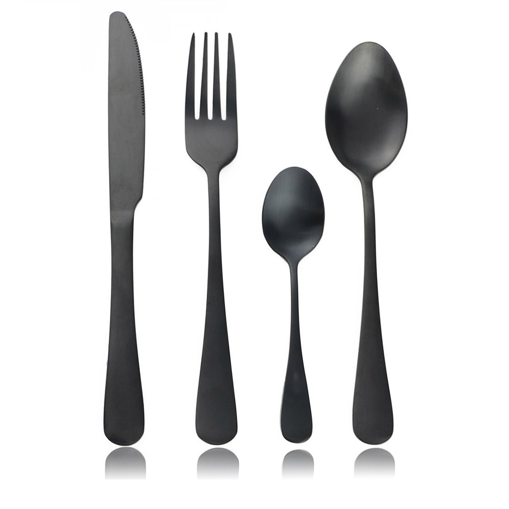 Dinnerware Set Black Stainless Steel Cutlery Kitchen Accessories Tableware Scoop Home, Furniture & DIY