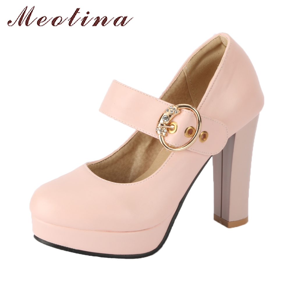 Meotina Women Mary Jane Shoes 2018 Spring Pumps Platform High Heels Wedding Shoes Big Size 42 43 Buckle Strap Rhinestones Shoes meotina women wedding shoes 2018 spring platform high heels shoes pumps peep toe bow white slip on sexy shoes ladies size 34 43