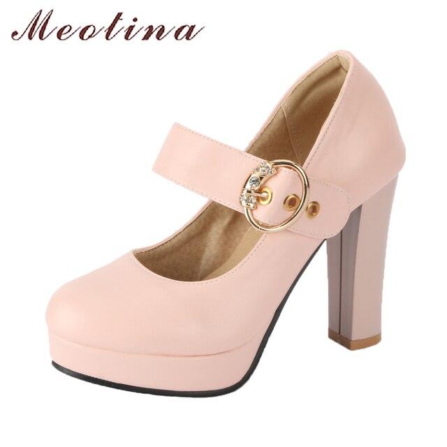 Meotina mujeres Mary Jane zapatos 2018 primavera bombas plataforma tacones  altos zapatos de boda tamaño grande 966775428d1e
