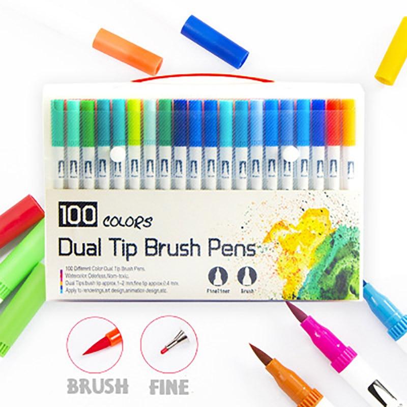 100 pièces couleurs double pointe pinceau stylo FineLiner et pinceau dessin peinture aquarelle Art marqueur stylos pour coloriage Manga calligraphie