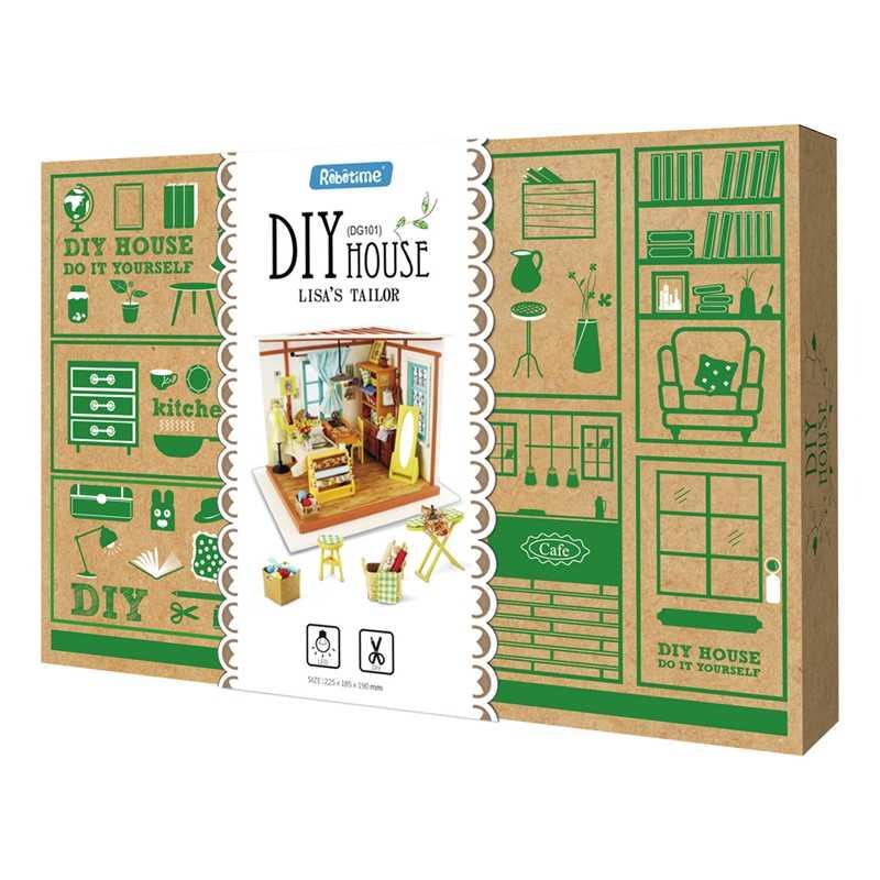 Robotime Diy Nhà Thợ May Shop Gỗ Thu Nhỏ Nhà Búp Bê Trang Trí Phụ Kiện Tặng Cho Trẻ Em DG101