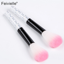 Feivielle2Pcs Nail Art Glitter Brush Dust Clean Acrylic UV Gel Powder Remover Rhinestone Handle Nylon Makeup Foundation Manicure