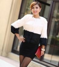 2013Women Russian Short/Long Style Designer Black And White Stripes Contrast Color Patchwork Real Rabbit Fur Coat Overcoat D1854