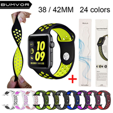 Colorful Soft Silicone Strap for Apple Watch Band 40/44MM 38/42MM Sport Rubber Bracelet Wrist Watch Straps for iWatch 1 2 3 4