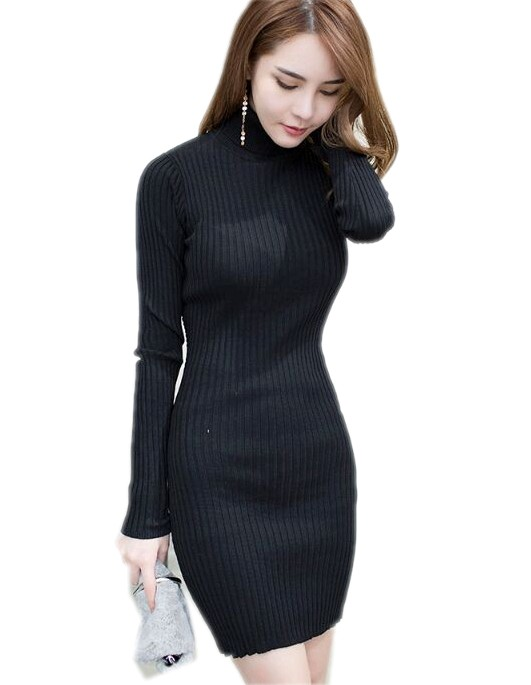 Turtleneck Collar Knitted Sweater Dress 2017 New Autumn and Winter Women Back patchwork lace Sweater Knit mini Dress Vestidos women turtleneck front pocket sweater dress