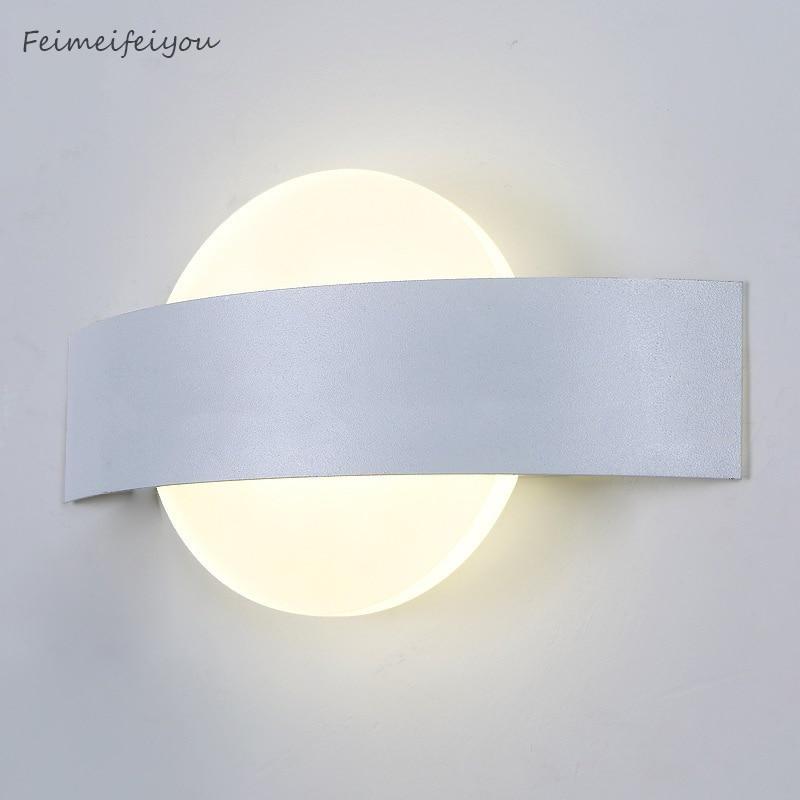 Feimefeiyou lampada وحدة إضاءة LED جداريّة مصابيح AC85-265V الحديثة بسيطة نوم أضواء داخلي غرفة الطعام الممر الإضاءة مادة الألومنيوم