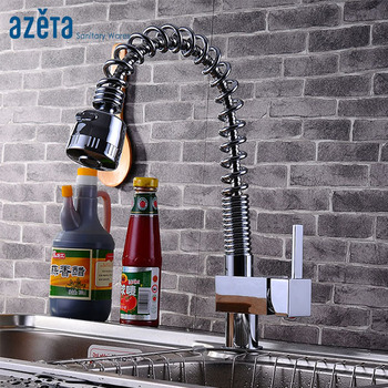 Azeta Faucet Kitchen Torneira Single Hole Deck Mounted Chrome Plated Pull-down Sprayer Kitchen Sink Tap AT9918