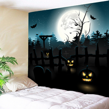Large Halloween Tapestry Moon Home Decor Wall Carpets Hanging Towel Rug Cloth on Fabric Horror Grave 3D Printed 200cmx150cm