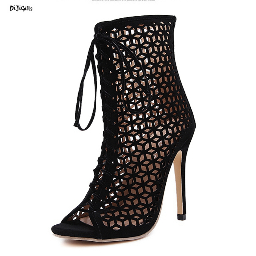 Women Fashion Lace Up Cut-out Ankle Boots Sexy High Heels Black Party Shoes Open Toe Short Booties Stiletto Pumps Zg938-73 gold chain party 2017 spring summer casual shallow slip on square toe bling square heels women pumps free ship mujer pantufa