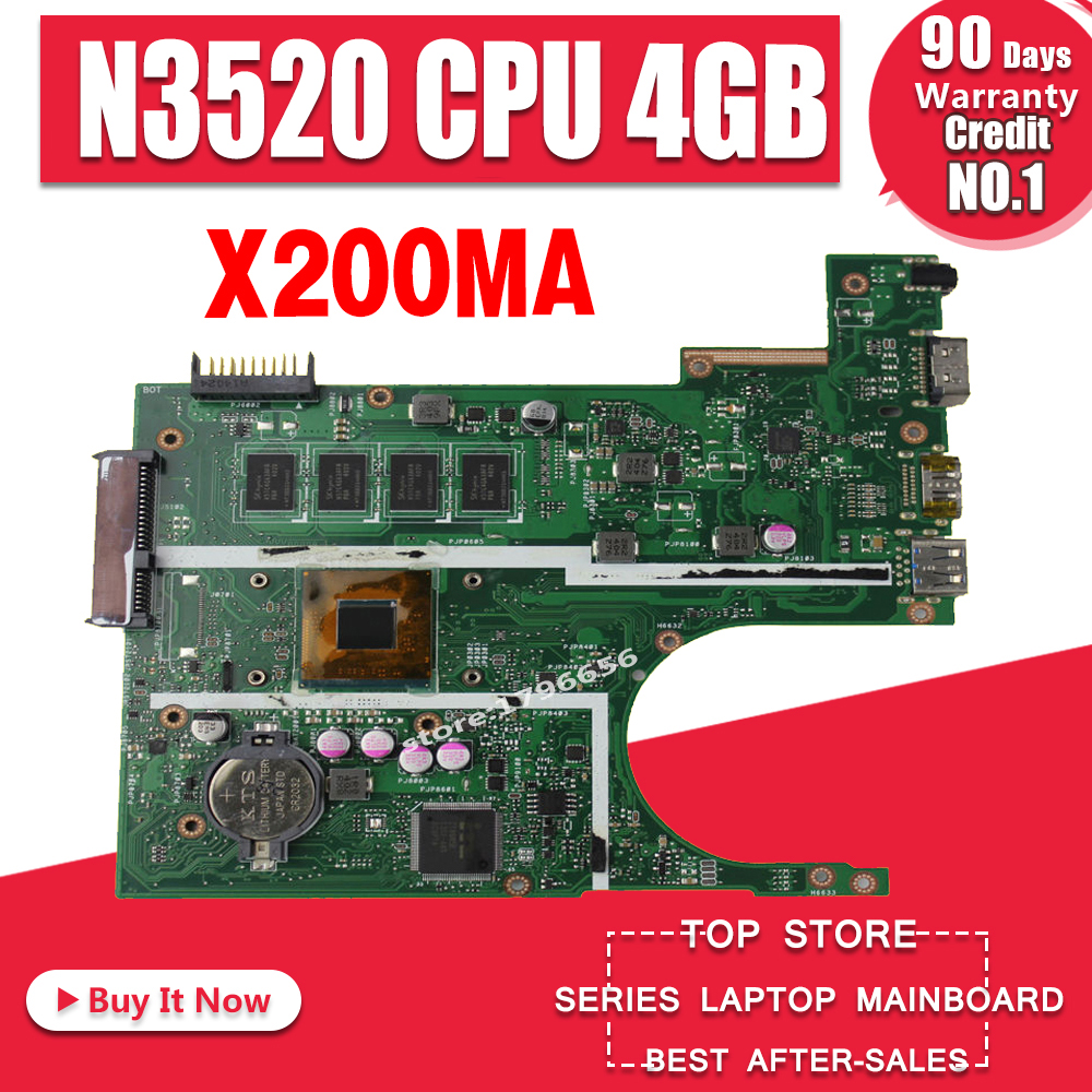 N3530/N3520 CPU 4Gb X200MA Motherboard REV2.1 For ASUS K200MA F200M Laptop Motherboard X200MA Mainboard  Test 100% OK