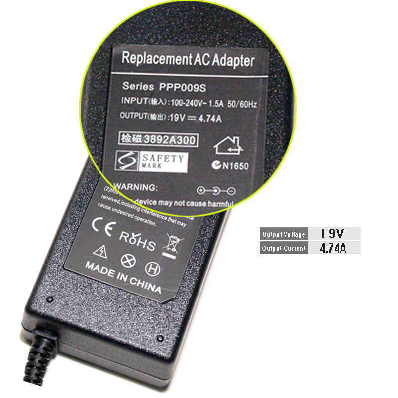 AC 19 V 4.74A 90 Watt Netzteil Laptop-ladegerät Für Leonovo 45K2225 ADP-65CH Ein, IdeaPad Y510 Y650 5,5*2,5mm Stromversorgung F25