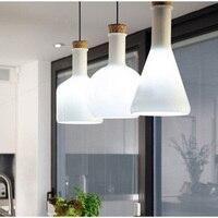 Pendant Lamps White Glass Bottle Modern Pendant Lights Glass Lampshade Bottle Pendant Lamp Flask Design Fixtures lamps E27 E027