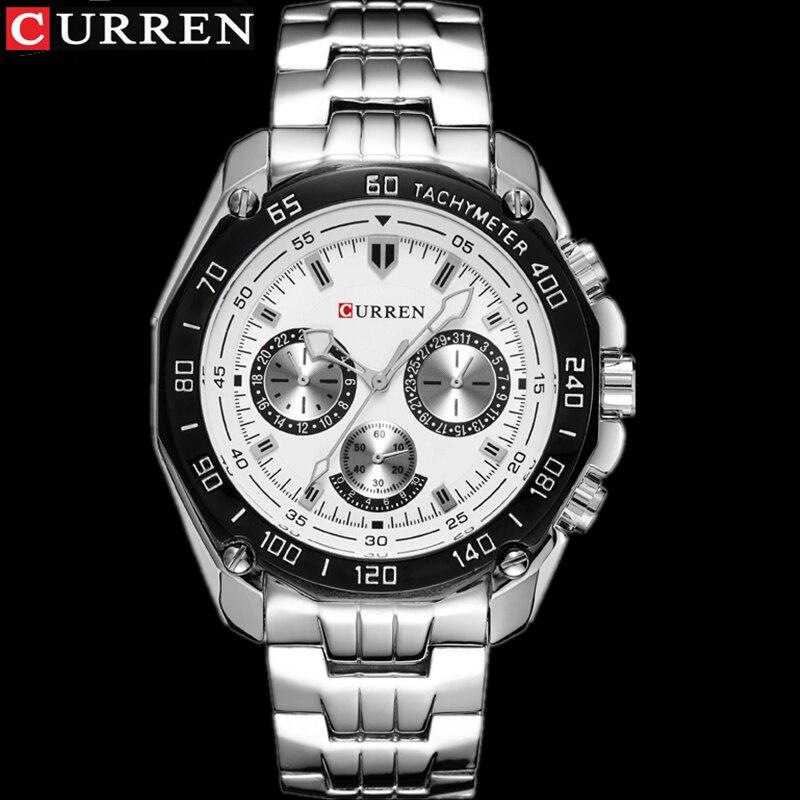 купить Man Clock Full Stainless Steel Wrist Watch For Men Top Brand CURREN 8077 Mens Watches Fashion Quartz Reloj Hombre Montre Homme по цене 658.84 рублей