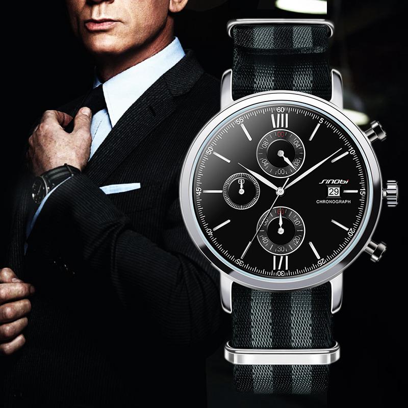 Prix pour Sinobi sport chronographe hommes montres bracelet nato nylon bracelet de luxe militaire hommes genève quartz horloge james bond 007