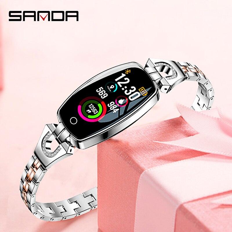 2019 nouveau style SANDA femmes montre intelligente écran couleur multifonction mode bracelet montre étanche écran tactile bracelet
