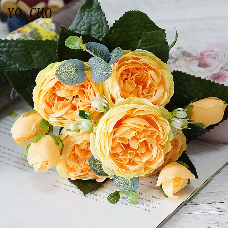 Beautiful Rose Peony Artificial Silk Flowers small bouquet flores home party spring wedding decoration mariage fake Flower (27)