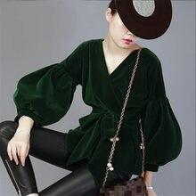 Фотография New Spring Autumn Shirt Long Sleeve Casual Loose Fashion Brand Blouse Female V-Neck Lantern Sleeve Solid Color Shirts A4019