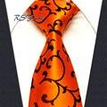 Frete grátis por atacado floral orange brown dos homens do laço 100% silk new tecido jacquard clássico gravata de casamento