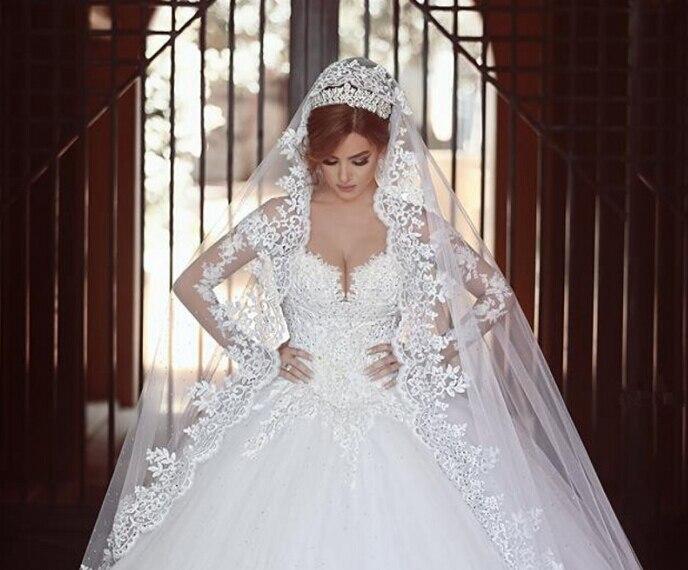 Hermoso diseo pura manga larga vestidos novia 2016 casamento