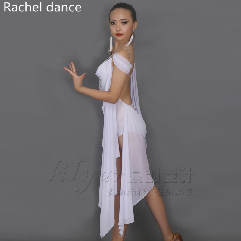 2017 Latin Dance Dress Women Tassel Style Back Opening Irregular Salsa Tango Rumba Flamengo Latin Dance Competition Costumes