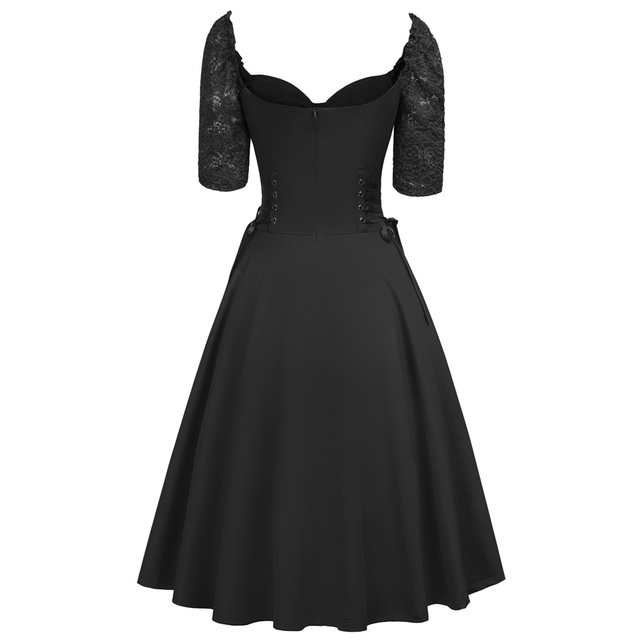 Women Summer Gothic Dresses Casual Clothing 2018 Lace-up Corset V-Neck Half Sleeve Retro Vintage Sexy Black Party Punk Dress 1