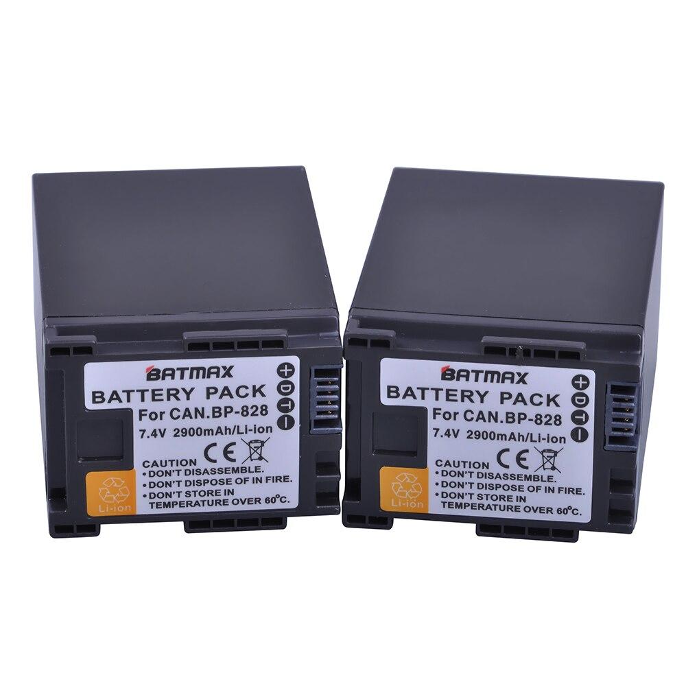 2 Pz 2900 mAh BP 820 BP820 BP 828 Batterie per Canon LEGRIA GX10, XF400, XF405 HFG20, HFG30, HFG40, HFM41, HFM400, HFS21, HFS30