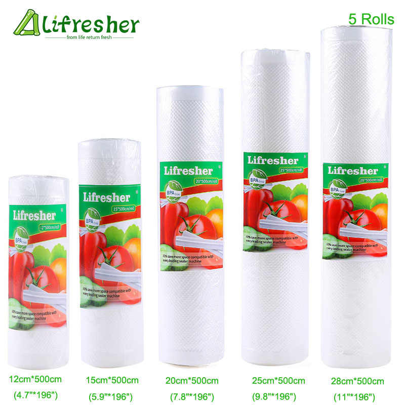 Lifresher Food Storage Saver Bags Vacuum Sealer Food Saver Bag 15 20 25 28 Vacuum Package For Kitchen 5 Rolls/Lot Dropshipping