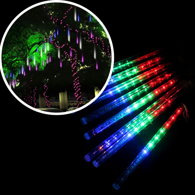 8x20cm Meteor Shower Rain Tubes LED Strip Lights For Wedding Garden Tree  Decoration Fairy Lights Christmas