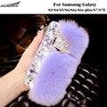 Rex Rabbit Fur Back Cases Plush Diamond Bling Cases Furry Shell Covers Bag For Samsung Galaxy S3/4/5/6/S6e/S6e plus/S7/S7 edge