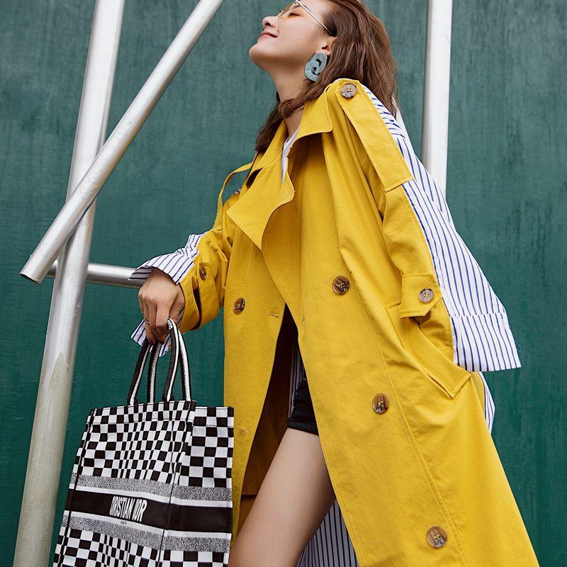 Women Trench-Coat Windbreaker Autumn Yellow Korean Winter Stitching Female Striped Long