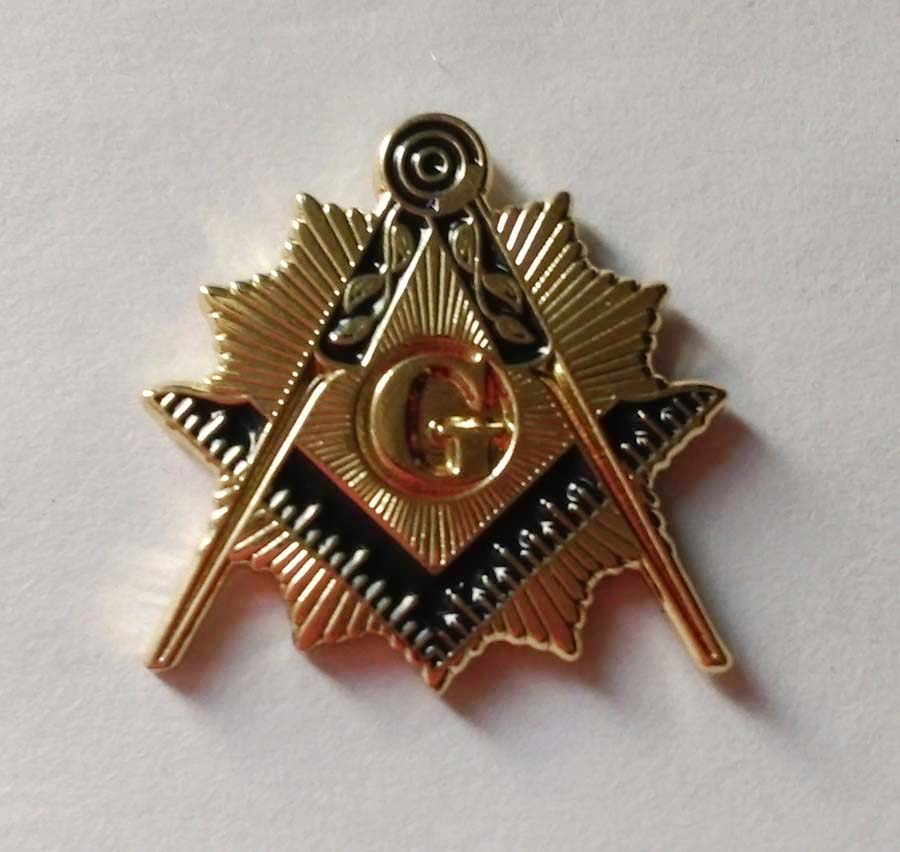 Masonic Sun Splendor Square and Compass Lapel Pin