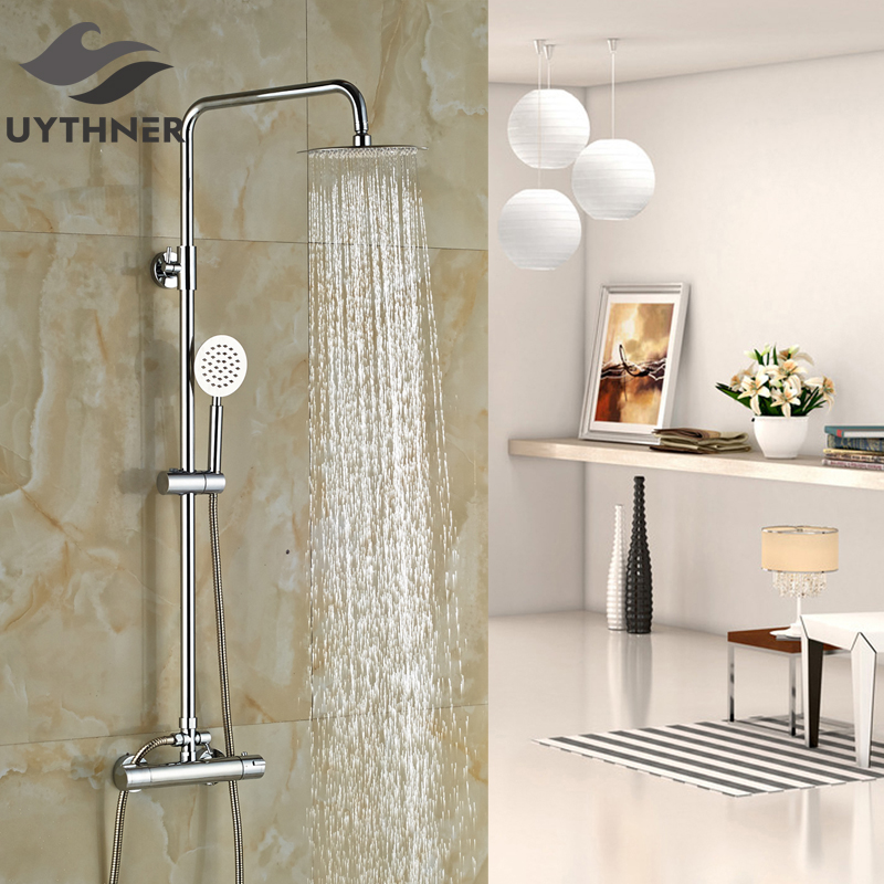 Uythner Newly Brass Bathroom 8 Thermostatic Shower Faucet Set w/ Hand Shower Chrome Plate Mixer Tap gappo classic chrome bathroom shower faucet bath faucet mixer tap with hand shower head set wall mounted g3260