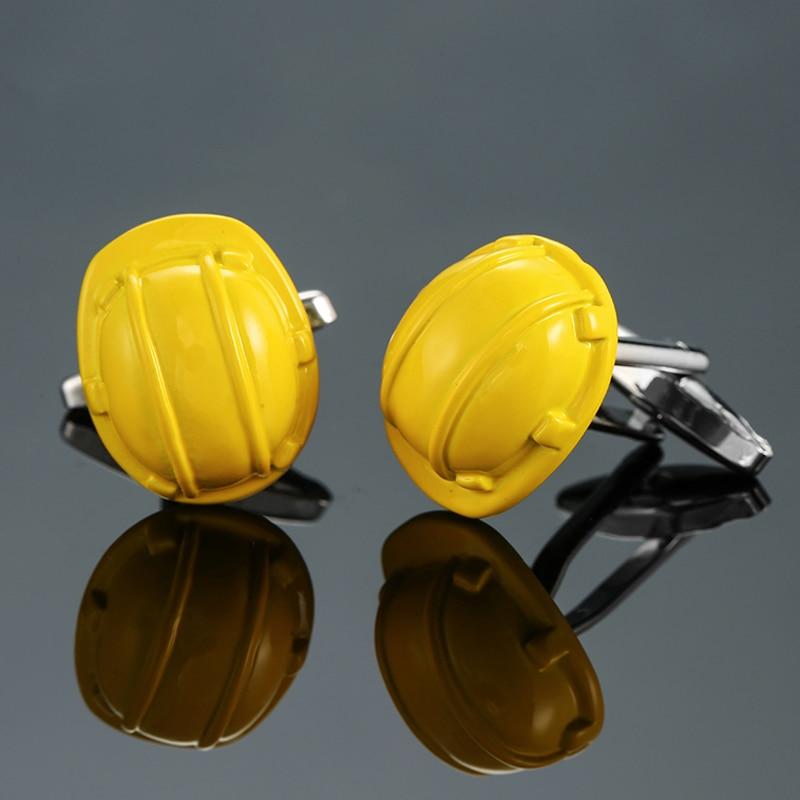 DY New High Quality Brass Senior Engineer Yellow Safety Helmet Cufflinks Men's French Shirt Cufflinks Free Shipping