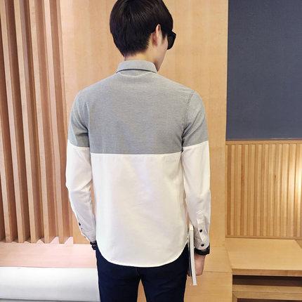 2017 Men's Fashion Shirt British Fashion Color Patchwork Slim Square Collar Men Long-Sleeved Fit Shirt Single-Breasted Shirt 4XL 5