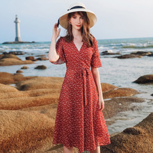 AcFirst Summer Women Red Chiffon A-Line Dress V Neck Evening Party Dots Lady Lanon Holiday Sexy Plus Size Sweet Dresses