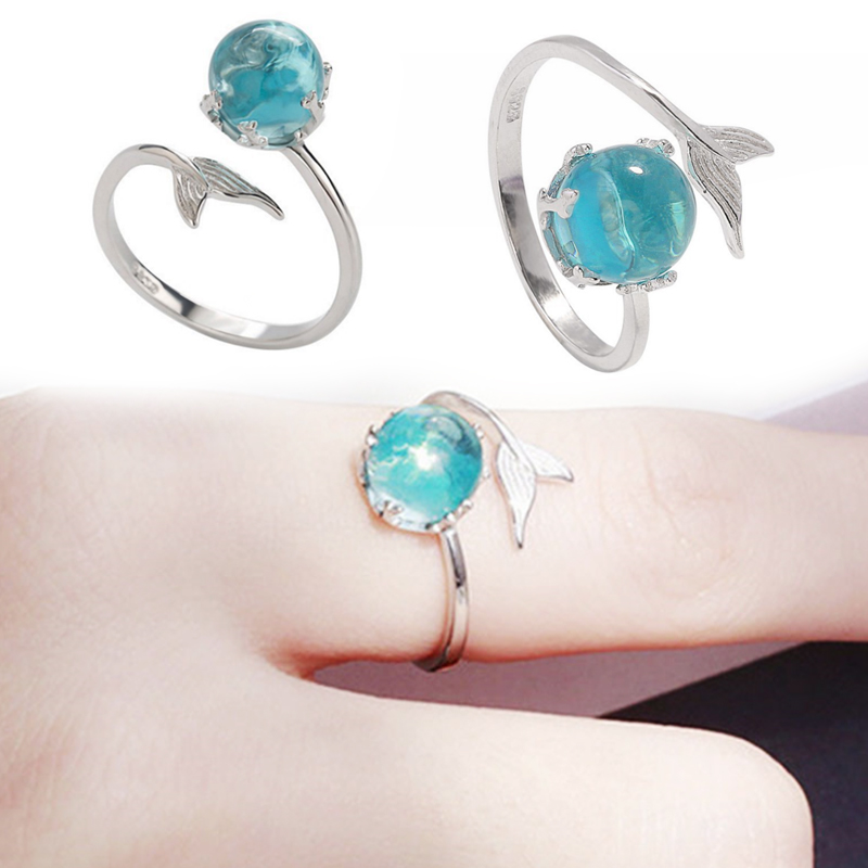 1PC Graceful Allergy Free Silver Blue Crystal Adjustable High Quality Mermaid RingsBubble Open