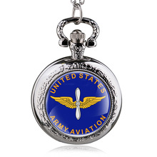 Fashion Bronze United States Army Aviation Quartz Pocket Watch Vintage Army Military Watch With Chain Gifts For Men Women