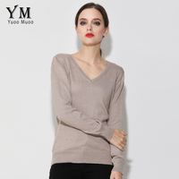 YuooMuoo High Quality Sweater Women V Neck Pullover Solid Winter Tops Casual Knitted Sweater For Women